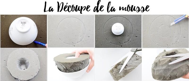 DIY socle rangement bijoux Découpe de la mousse