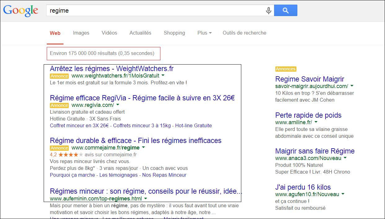 résultat régime google